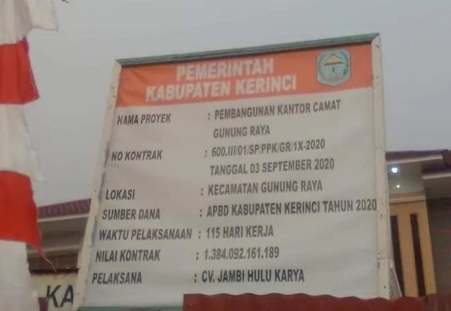Proyek Pembangunan Kantor Camat Gunung Raya Diduga milik Ketua DPD PAN Terpilih
