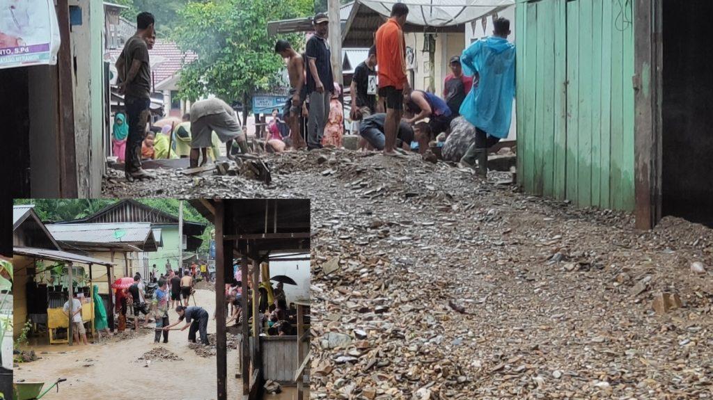 Breaking news, Desa Muara Imat Diterjang Longsor Tanah Berbatu